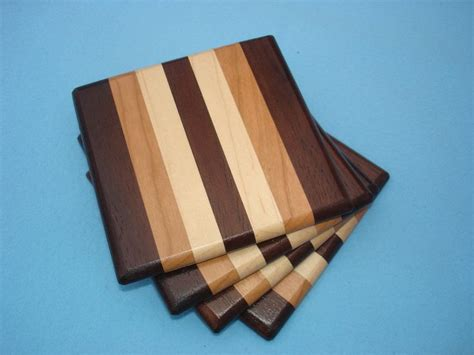 Handmade Wood Coasters - wood coasters walnut cherry maple cherries