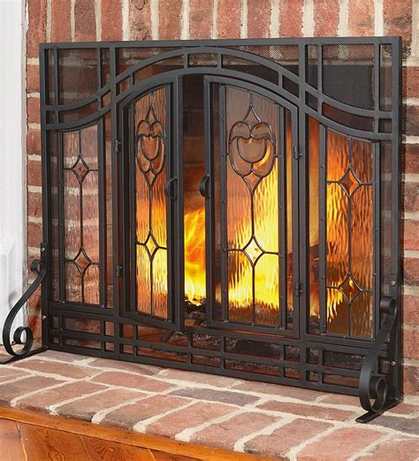 Fireplace Glass Doors With Screens Best 25 Fireplace Screens Ideas On Place Decor Rustic Fireplace Screens And