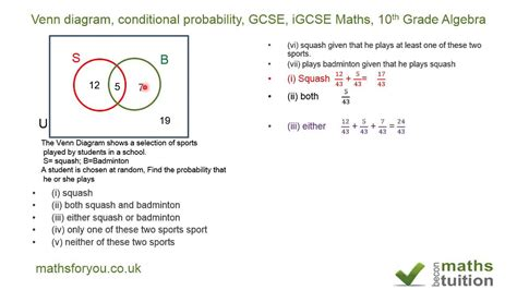 gcse maths sets venn diagrams venn diagram conditional probability gcse igcse maths
