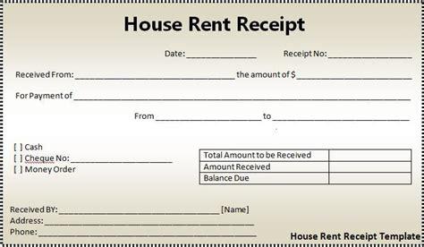 house rent receipt format  word templates