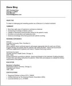 dietician resume exle free templates collection