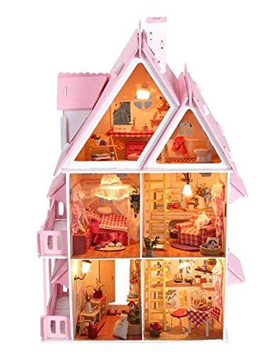 large wooden doll house eshion handmade large wooden dollhouse diy kit handcraft miniature with light and