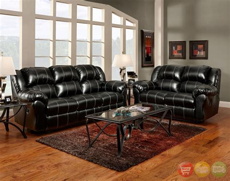 Black Bonded Leather Casual Motion Sofa Set Living Room Black Leather Living Room Furniture Sets