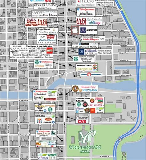 printable street map chicago chicago map magnificent mile