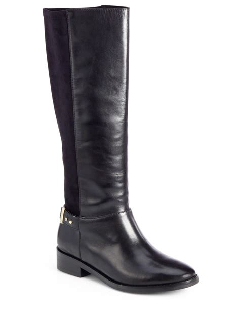 cole haan knee high boots cole haan adler leather suede kneehigh boots in black lyst