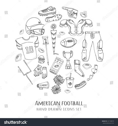 doodle football doodle american football set stock vector