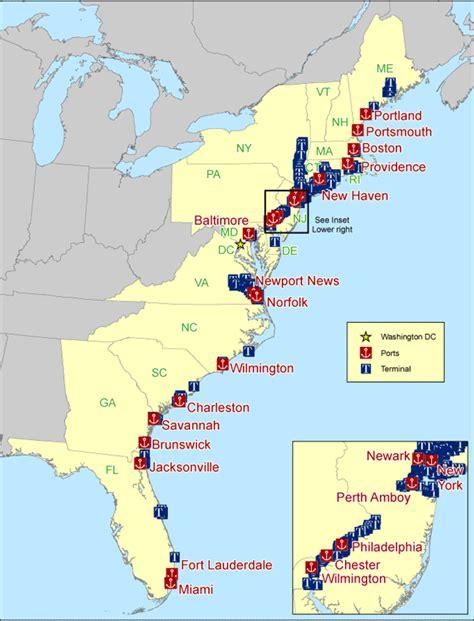 map us east coast major cities 2 figure 1 atlantic coast u s seaports bureau of