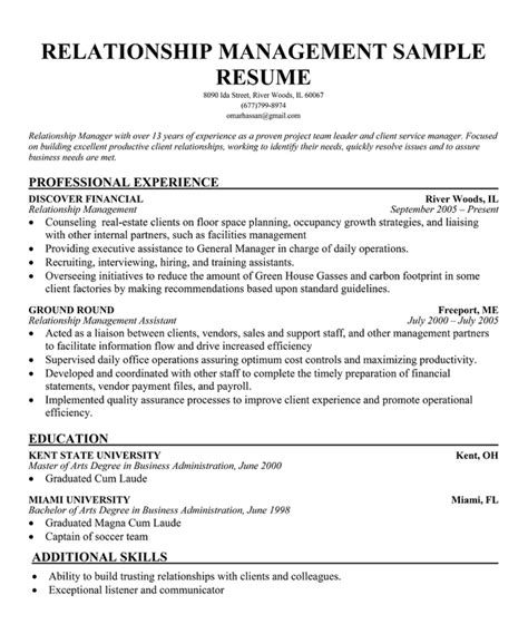 Relationship Banker Sle Resume by 13 Useful Materials For Client Relationship Manager Resume Exles Actor Resume Builder