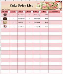 Cake Price List Template cake price list template printable templates