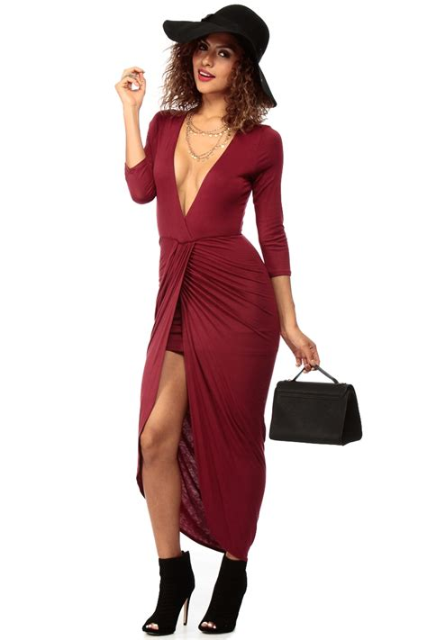 simple  classy burgundy maxi dress  cicihot sexy