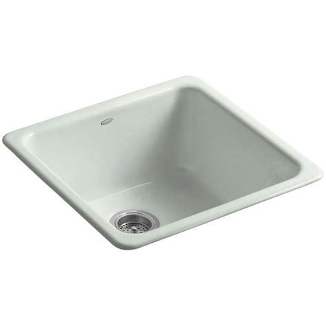Single Bowl Kitchen Sink Top Mount Kohler Iron Tones Top Mount Undermount Cast Iron 24 In Single Bowl Kitchen Sink In Caviar K