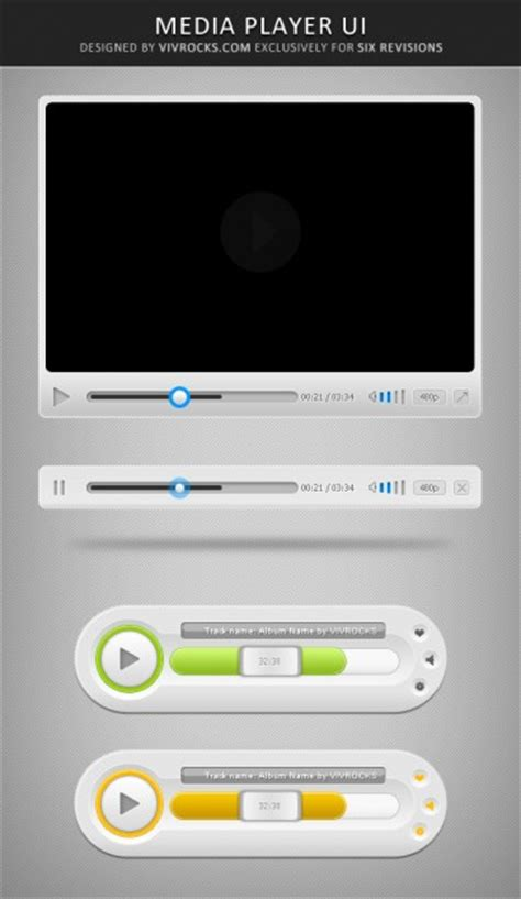 Multimedia Player Ui Elements Psd File Free Download Multimedia Templates Free