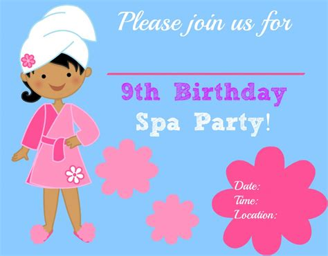 free printable birthday invitations 9 years old 7 best images of blank printable spa invitations 9 year