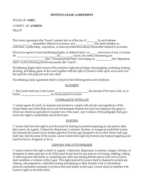 lessor lessee agreement template rental and lease form ohio free