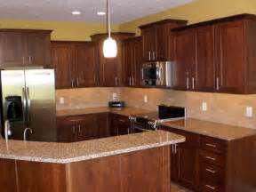 Cherry Cabinet Kitchens Note Cherry Wood Cabinets Light Granite And Gold Wall