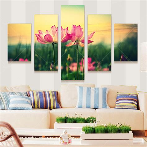 home decor wall painting flower canvas painting cuadros 2016 rushed 5 panel graceful lotus flower painting canvas