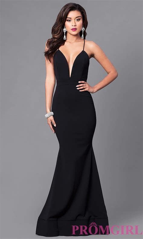 Id 217 Mix Color Dress Black cheap prom dress with v neckline promgirl