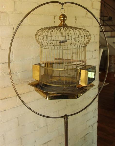 vintage floor standing brass bird cage for sale at 1stdibs