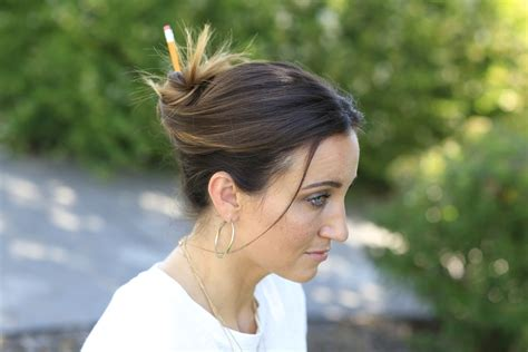 hairstyles for hair that sticks up 3 easy pencil bun ideas back to school hairstyles cute