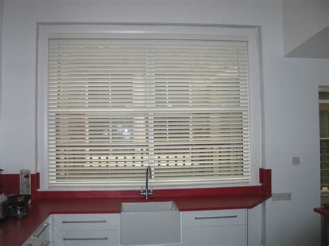 Kitchen Blinds Venetian Changing Curtains White 50mm Woodslat In Kitchen In