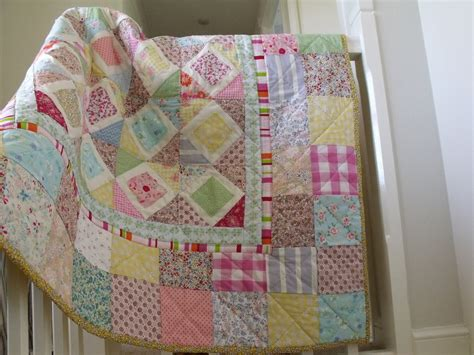 patchwork coverlet baby girls patchwork quilt pastel colours by aliceandflorence