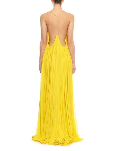 Yellow Silk Dress 31033 chlo 233 silk voile maxi dress in yellow lyst