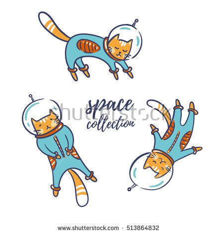 Vector Cat In Space cats astronauts space vector illustration stock
