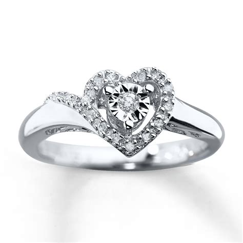 promise rings promise ring 1 10 ct tw cut sterling silver