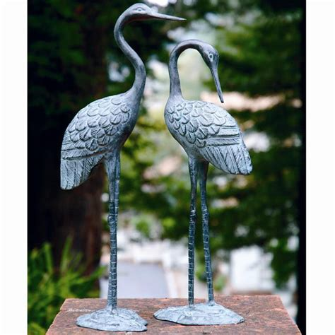 Bird Statues Garden Decor Brass Crane Pair Garden Statue Bird Birds Wetland Ebay