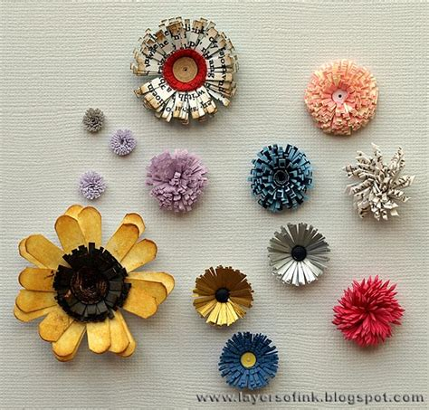 layers of ink quilling fringed flowers tutorial