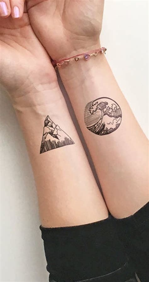 temporary nipple tattoos solstice small geometric nature waves mountain temporary