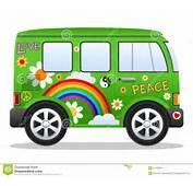 R&233tro Fourgon Vert De Hippie Dessin Anim&233 Avec Larc En Ciel Les