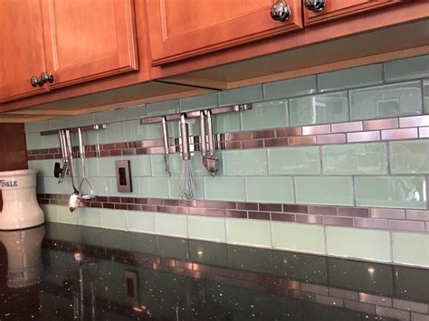 steel tile backsplash stainless steel 1 quot x 3 quot and surf glass kitchen backsplash
