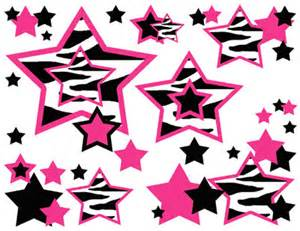 And stripes border black and white hot pink zebra stars wallpaper