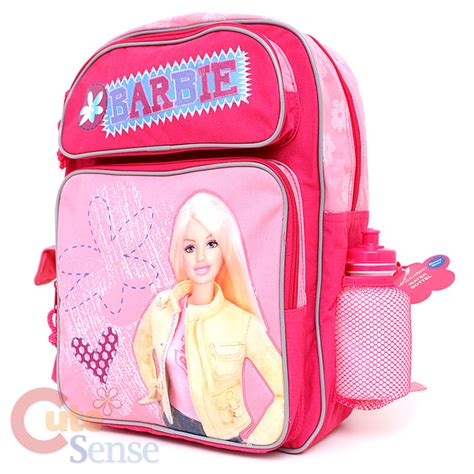 Barbies Bag school backpack book 16 quot large bag pink flowers