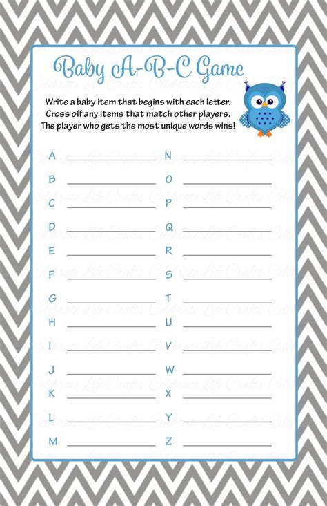 printable alphabet game for baby shower baby abc game printable download blue gray baby