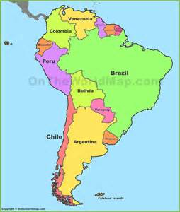 political map south america political map of south america