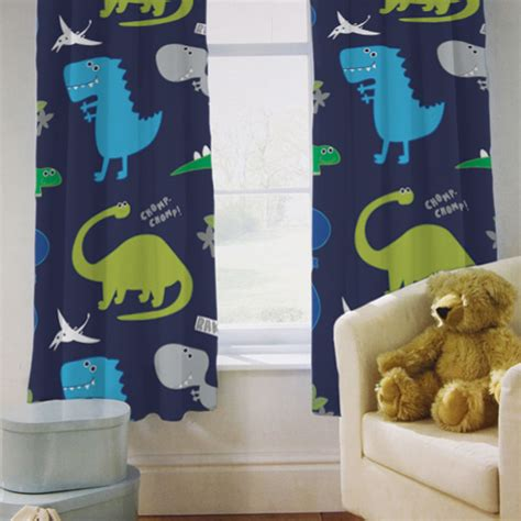kids dinosaur curtains childrens kids curtains dinosaurs blue boys 66 by 54