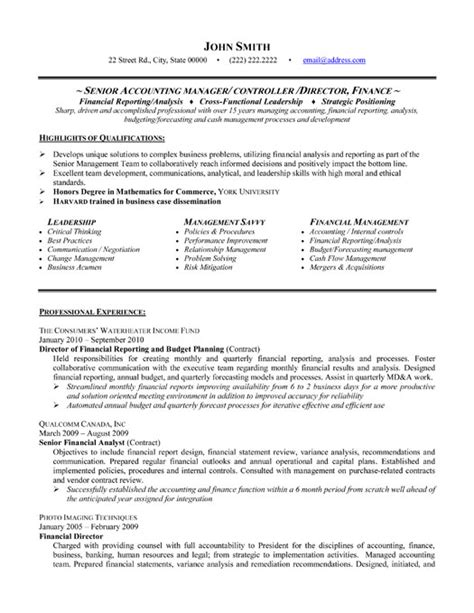 Financial Accounting Manager Sle Resume by Senior Accounting Manager Resume Sle Template