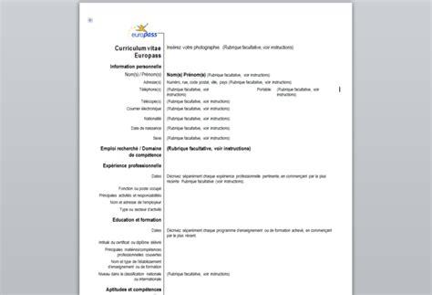 format cv en francais curriculum vitae europass t 233 l 233 charger