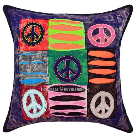Handcrafted Pillows - blue multi handcrafted aum and peace symbols hippie throw