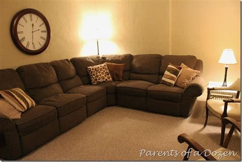 basement couches parents of a dozen basement recliner couches