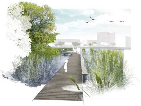 Landscape Architecture Perspective Sistemazione Paesaggista Lungolago Di Aspern Vienna