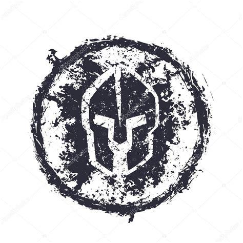 grunge spartan helmet round emblem stock vector
