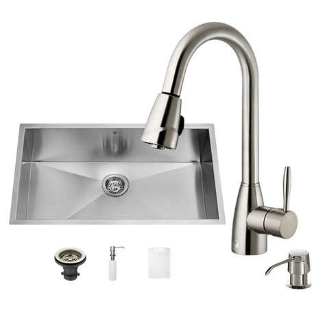 Kitchen Sink Set Vigo All In One Undermount Stainless Steel 32 In Single Bowl Kitchen Sink Set With Stainless