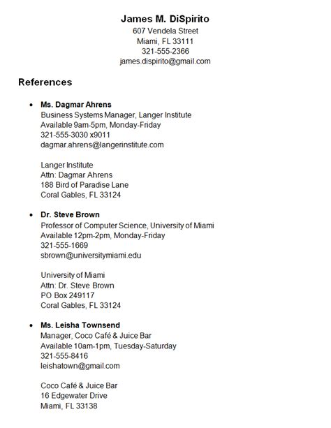 personal reference list template resume example examples of a sample