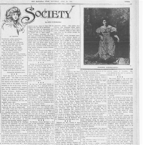 society section newspaper society page hawai i digital newspaper project
