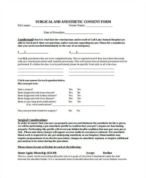 34 Consent Forms In Doc Veterinary Surgery Consent Form Template