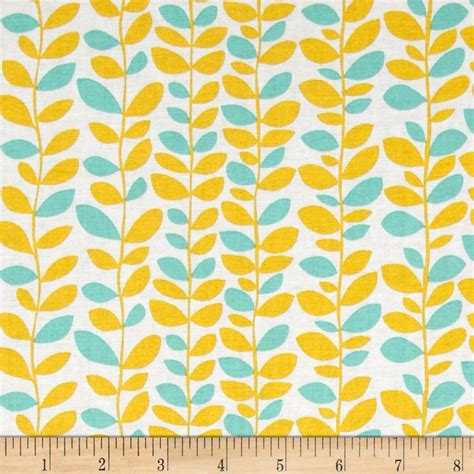 yellow and white with teal dori vine teal yellow discount designer fabric fabric com