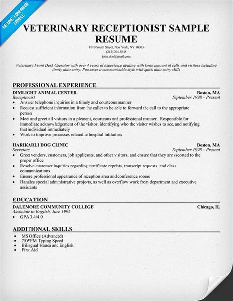 veterinary assistant resume exles veterinary receptionist resume exle http resumecompanion health nursing vet